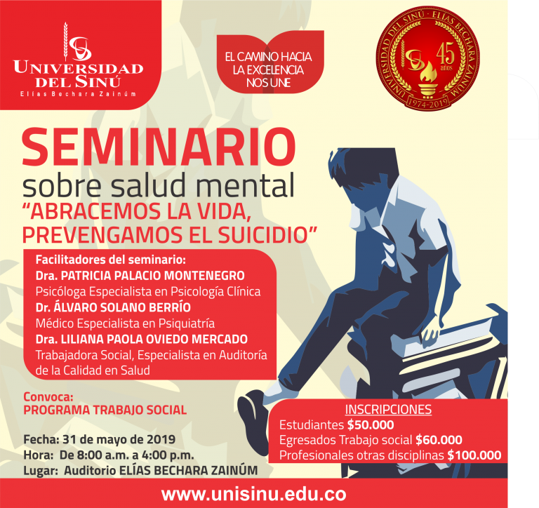 """Seminario sobre salud mental """"abracemos la vida, prevengamos el suicidio"""" ."""